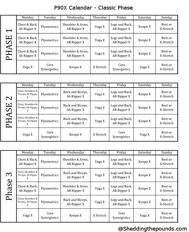 P90x workout schedule.